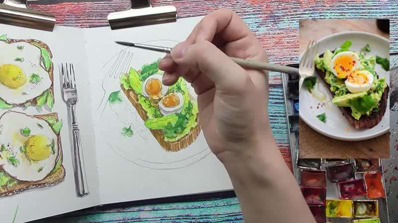 Тост авокадо и яйцо