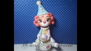 DIY- PALHACINHA BRILHANTE DE BISCUIT- ( Porcelana fria, Toys, polymer clay)