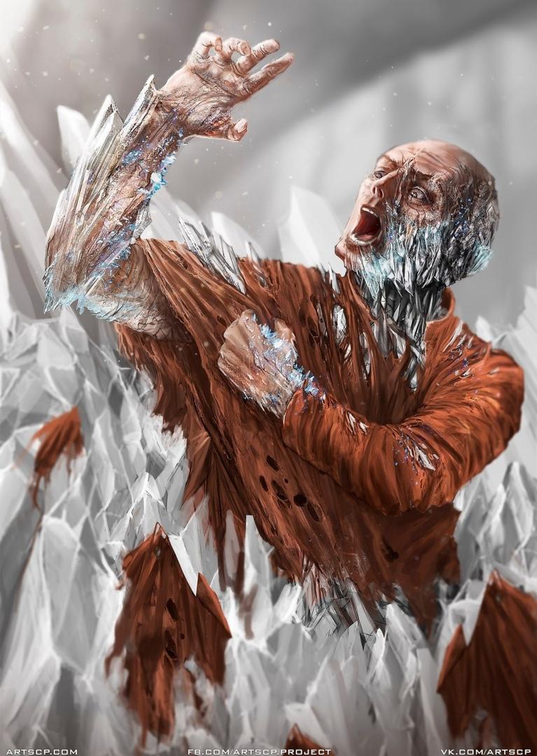 Работник D-класса гибнет от действия SCP-409 («Инфекционный кристалл»). Наука требует жертв. Художник — Daniel Temirov; иллюстрация создана в рамках арт-проектаARTSCP