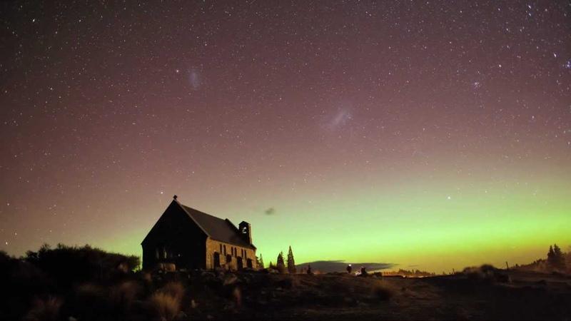 Aurora Australis and the Church of the Good Shepherd, Tekapo, New Zealand - 15 July 2012